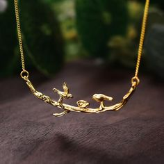 Handmade Designer Fine Jewelry: 925 Sterling Silver Cute Birds on Branches Necklace with Pendant for Women Branch Necklace, Gold Necklace, Pendant Necklace, Cute Birds, Stainless Steel Jewelry, Necklace Types, Handmade Silver, Handmade Jewelry, Stone Jewelry