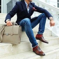 stylish jeans for men Men's Navy Blazer, Light Blue Dress Shirt, Blue Skinny Jeans, Brown Leather Oxford Shoes. Navy Blazer Men, Leather Blazer, Navy Jacket, Blazer Outfits, Sexy Outfits, Leather Shoes, Navy Blazers, Simple Outfits, Men Jeans
