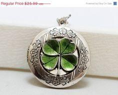 on sale Four Leaf Clover Locket,Claddagh, Antique Locket,Silver Locket, Irish,Lucky, Shamrock,Love,Wedding,Bridal Jewelry,Bridesmaids Gift
