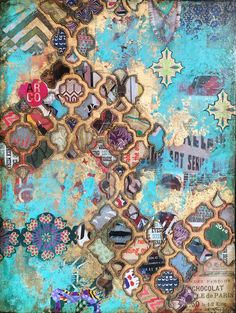 """Cascading Dreams"" by Jill Ricci  Mixed Media on Canvas 24 x 18 inches"