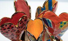 ceramic slab heart vases