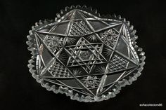 ABP / Brilliant Period 7 inch Dessert Plate - Hobstars - Fans - Star of David - 6 Point star - 1890s to 1910s  by soflacollectors86