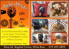 NEW stock arrived at your Gifts & Souvenir shop !! Irresistibly beautiful...a must have. See you soon 🥰 Shop Z6, Bagdad Centre, White River #amberafrica #velvetcushions #velvetpurses