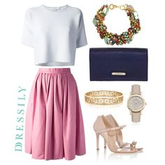 Dress up a simple white tee with a brightly colored full midi skirt, statement necklace and neutral colored shoes and accessories to let the colors shine through. Understated and classy outfits go a long way, perfect for both new night and day! www.dressi.ly