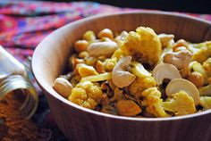Warm Curried Cauliflower with Chickpeas and Cashews