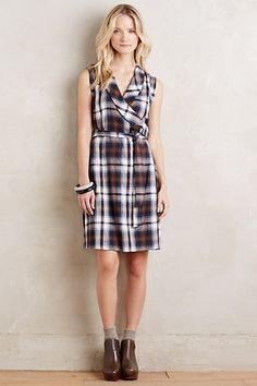 Wrapped Plaid Dress #anthropologie