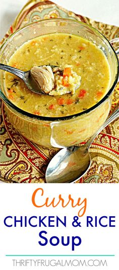 Curry Chicken and Rice Soup- an easy, comforting soup recipe that is inexpensive and family friendly! Curry Chicken and Rice Soup- an easy, comforting soup recipe that is inexpensive and family friendly! Easy Homemade Recipes, Easy Soup Recipes, Chicken Recipes, Cooking Recipes, Oven Recipes, Curry Chicken And Rice, Curry Rice, Chicken Soup, Arroz Al Curry