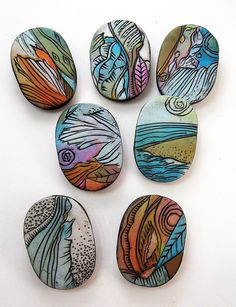 "artybecca sketched carved beads.  I just marvel at her ""doodles"".  #polymer #clay #beads"