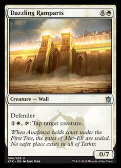 Magic: the Gathering - Dazzling Ramparts - Khans of Tarkir Vampire Spells, Mtg Decks, Magic The Gathering Cards, Magic Cards, White Magic, Flesh And Blood, One Tree, Wizards Of The Coast, Safe Place