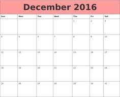 2016 December Calendar Template Colourful Design Pink Header
