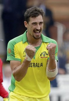 Australia's Mitchell Starc celebrates taking the wicket of England's captain Eoin Morgan during the Cricket World Cup match between England and Australia at Lord's cricket ground in London, Tuesday, June (AP Photo/Matt Dunham) Icc Cricket, Cricket Bat, Cricket Sport, Cricket World Cup, Cricket News, Have I Won, England Cricket Team, Mitchell Starc, Ms Dhoni Wallpapers