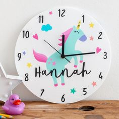 Bedroom Unicorn Theme Personalised Clock Gift unicorn acrylic clock personalised with name Unicorn Bedroom Accessories, Unicorn Bedroom Decor, Unicorn Rooms, Unicorn Kids, Unicorn Decor, Unicorn Crafts, Personalized Clocks, Bedroom Clocks, Rainbow Bedroom