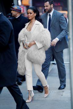 Rihanna Suit, Faux Fur Coat, Heels