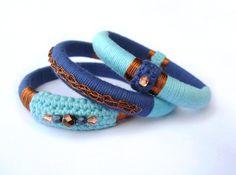 Ethnic tribal gypsy boho fiber bangles by GiadaCortellini on Etsy Bangle Bracelets, Bangles, Bright Colors, Gypsy, Ethnic, Turquoise, Boho, My Style, Womens Fashion