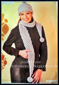 Katia Ribeiro Acessórios: Cachecol e gorro em tricô com receita e gráficos