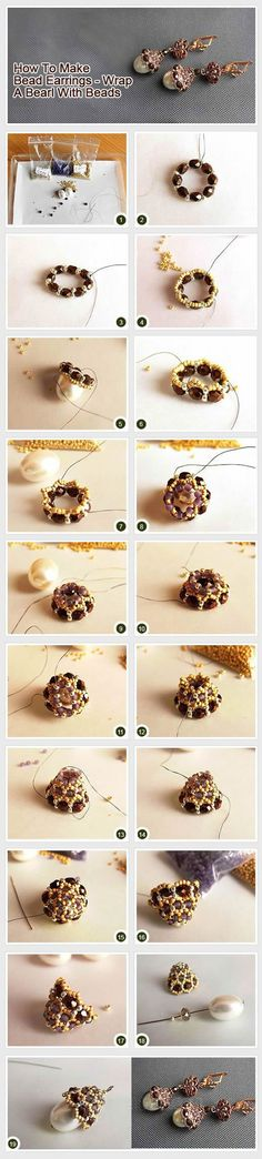 Wrapped Pearl Earring DIY, jewelry making  http://beads.how/details-Wrapped-Pearl-Earring-3066.html?Utm_rid=194581