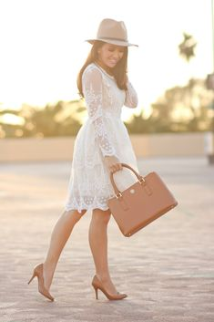 mi amore lace dress, cognac pumps, wool hat, spring fashion, boho outfit, petite fashion blog, wedding outfit idea, click the photo for outfit details!