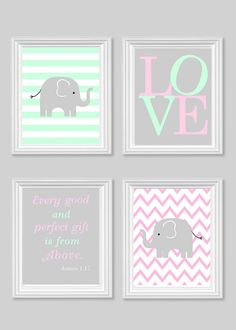 Elephant Nursery Art Baby Girl's Room Decor Pink Gray Mint Bible Verse Art Love Every Good and Perfect Gift Quote 8 x 10 or 11 x 14 4 Prints on Etsy, $52.00