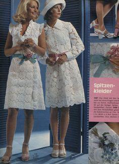1977 Fashion, Seventies Fashion, Retro Fashion, Vintage Fashion, Vintage Dresses, Vintage Outfits, 1970s Clothing, Little White Dresses, Retro Look