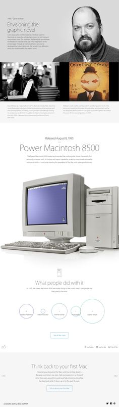 """Apple Mac @30 2014-01-24 off'l Anniversary mini site: USA """"Apple - Thirty Years of Mac"""" - page: 1995 inventing the Graphic Novel (by merging Steve Job's favorites: Liberal Arts & Hi-Tech...redefine the graphic novel...with art for Neil Gaiman's The Sandman): Dave McKean (Comic book artist/filmmaker)  • http://www.apple.com/30-years/1995"""