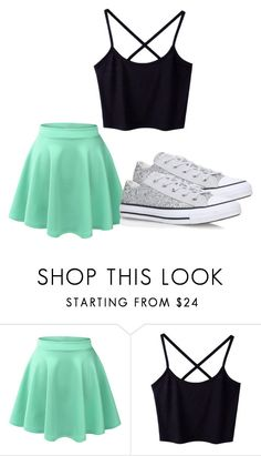 """cute"" by lc112439 on Polyvore featuring LE3NO and Converse"