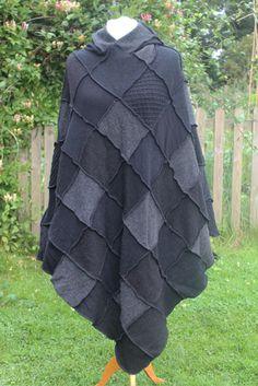 Upcycled Monochrome Hooded Patchwork Poncho | Woolly Pedlar