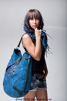 """Buy and order Bag """" Drop"""" on Livemaster online shop. Shipped over Russia and the CIS. Production time: 10-14 days <br /> The production…. Materials: new Zealand cardoons, genuine leather,…. Dimensions: on average, 45х40 cm <br />"""