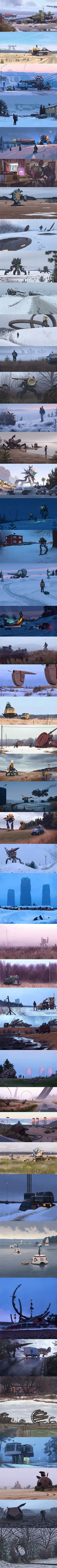 This dude Simon Stalenhag has an absolutely stunning series that crosses retro futurism with the organic landscapes of Sweden. It's surreal. It's beautiful.