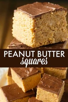 Peanut Butter Squares - A simple, no-bake dessert with an extra thick layer of sweet peanut butter f Chocolate Peanut Butter Squares, Peanut Butter Oatmeal Bars, Melting Chocolate Chips, Peanut Butter Recipes, Chocolate Squares, Chocolate Sweets, Best Dessert Recipes, Sweet Desserts, No Bake Desserts