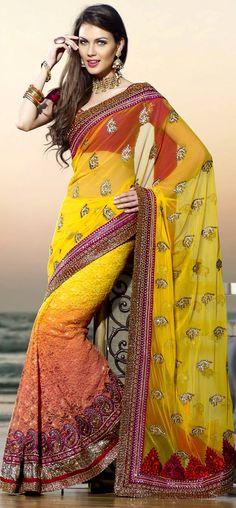 Shaded Fancy yellow saree