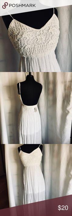 White Sundress Crochet Lace Detailed Sundress; 100% Polyester; half-lined Size: S Body Central Dresses