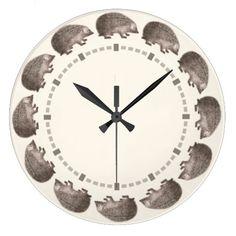 Cute Little Hedgehogs Vintage Style Wall Clock #Hedgie #Hedgehog