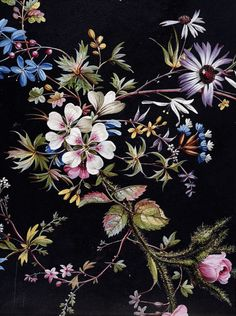 Design for a printed cotton by William Kilburn. Floral design on a black background. A remarkable feature of this design is the pink moss rose at the bottom left. ca. 1788-1792 (made)