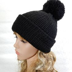 d070226caac Black winter beanie women Knit wool hat women Pom pom beanie Black Beanie