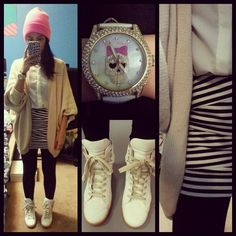 Saboskirt cardigan, American apparel beanie, forever 21 skirt, Betsey Johnson watch, Margiela x HM sneakers