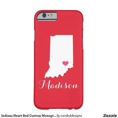Indiana Heart Red Custom Monogram Barely There iPhone 6 Case