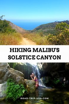 Hike the Solstice Canyon trail to see L.s only waterfall and then continue on the Rising Sun trail to see some incredible views of Malibu and the Pacific Ocean. This is the best hiking trail in Malibu Hiking Places, Hiking Trails, Hikes In Los Angeles, Colorado Hiking, California Travel, Visit California, Southern California, Best Hikes, Viajes