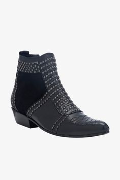 best service e514e 378ee Annie Bing studded booties Black Leather Boots, Black Booties, Studded Boots,  Flat Boots