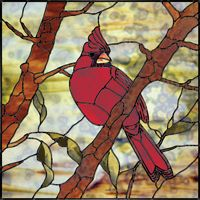 """A 20"""" x 20"""" stained glass outdoor nature panel depicting a cardinal perching in the branches of a tree. The detail included in the twists and turns of the branches and the intricate feathering on the underside of the bird's tail bring realism to the panel. Careful color selection for the background, leaves, and bark adds the finishing touches needed to give a feeling of depth and a three-dimensional quality to this striking panel. This project was constructed using the copper foil technique."""