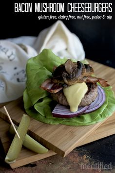 Bacon Mushroom Dairy Free Cheeseburgers from http://meatified. Dairy & gluten free, allergy friendly, Paleo & AIP.