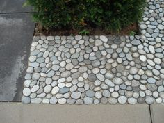 pebble stones in cement tuin Landscaping With Rocks, Backyard Landscaping, Rock Walkway, Rock Retaining Wall, Path Design, A Frame House, Pebble Stone, Outdoor Projects, Garden Paths