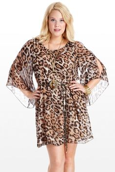 This gorgeous dress boasts an ultra-chic animal print of warm and cool neutrals. Flattering drape features sheer dolman slit sleeves and a tie gold and black sash to create a stunning A-line. $29.99