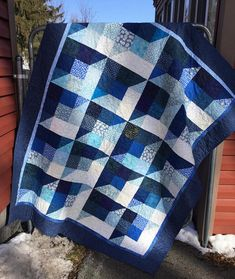 Winter Blues Scrappy Quilt Blue Patchwork Quilt Blue Lap