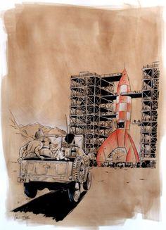 classé dans Objectif Lune & On a marché sur la lune.                     Hommage a herge / objectif lune par Christophe Chabouté - Planche originale