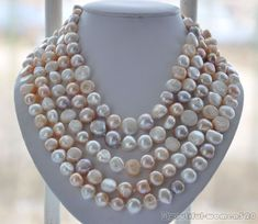 z5932 LONG 14mm white pink lavender baroque FRESHWATER pearl necklace 100inch
