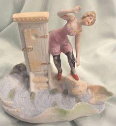 Fabulous Vintage Art Deco German Porcelain Bathing Beauty on Wave Figurine Vase