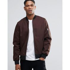 ASOS Bomber Jacket With Sleeve Zip In Dark Brown (€51) ❤ liked on Polyvore featuring men's fashion, men's clothing, men's outerwear, men's jackets, darkbrown, mens zip up jacket, mens tall jackets, mens lightweight cotton jacket, mens lightweight bomber jacket and mens fitted leather jacket