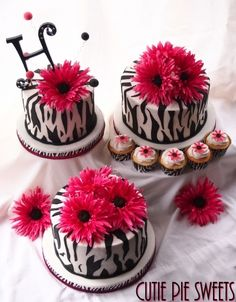 Pink Zebra Wedding Cake & Cupcakes By CutiePieSweets on CakeCentral.com