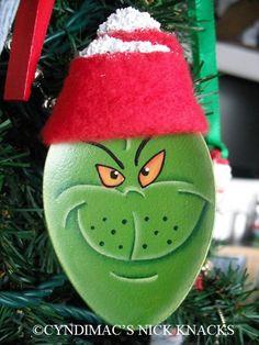 Handpainted Green Meanie Face Spoon by CyndiMacsNickKnacks on Etsy, $10.95 Great job Cyndi!!!
