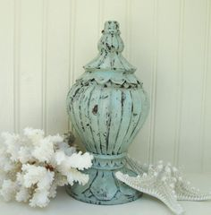 Architectural Salvage Wood Finial Large Ornate Aqua by PoemHouse, $42.00